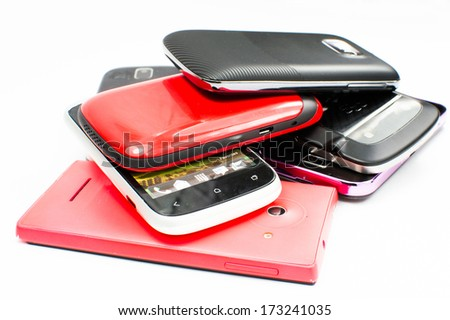 Pile of Mobile phones  - stock photo