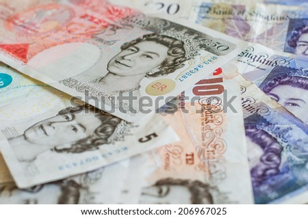 Pile of money british pounds sterling gbp for business and finance - stock photo