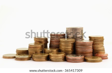 pile of money,coin on white background