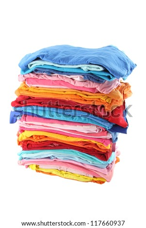 Pile of multiple color cloths on white background. ATTN REVIEWER: Please see an admin about this batch (re: case 00102594)