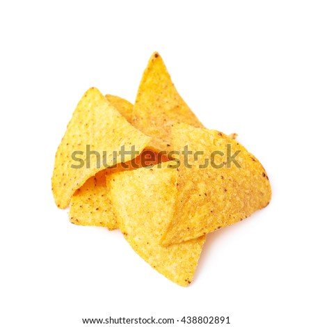 Pile of multiple corn yellow tortilla chips snacks, composition isolated over the white background