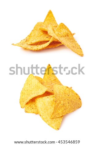 Pile of multiple corn yellow tortilla chips snacks, composition isolated over the white background, set of two different foreshortenings