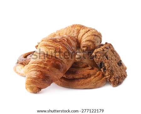 Pile of multiple different kinds of sweet bread pastry isolated over the white background - stock photo
