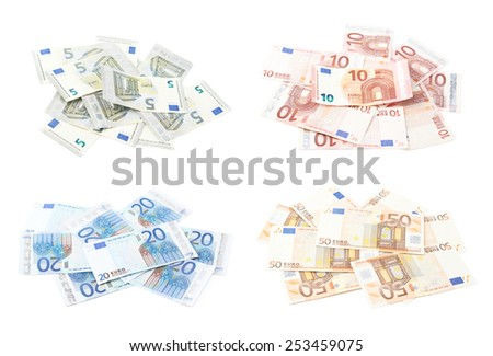 Pile of multiple euro bank note bills, composition isolated over the white background, set of five, ten, twenty and fifty bills - stock photo