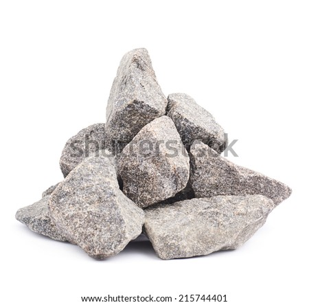 Pile of multiple granite stones isolated over the white background - stock photo