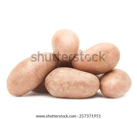 Pile of multiple potatoes isolated over the white background - stock photo