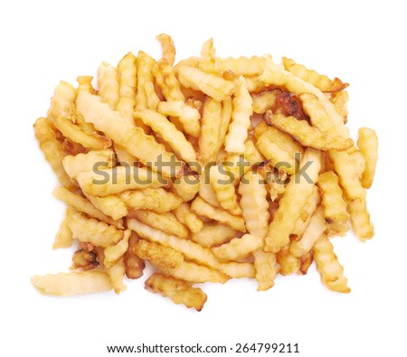 Pile of multiple wavy french fries isolated over the white background - stock photo