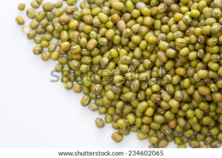 Pile of mung beans isolated on white background