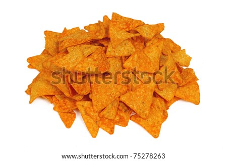 Pile of Nacho Cheese Chips Isolated on a White Background - stock photo
