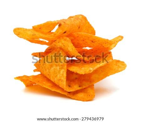 Pile of nachos on a white background  - stock photo