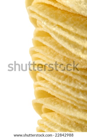 Pile of natural potato crisps
