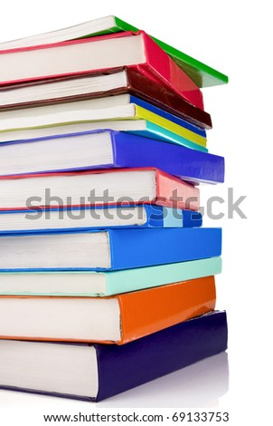 pile of new books isolated on white background - stock photo