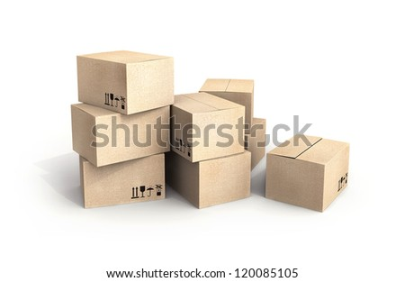 Pile of new cardboard boxes isolated on white with soft shadow