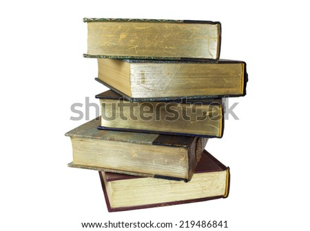pile of new stacked books - stock photo