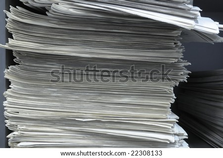 Pile of newspapers.