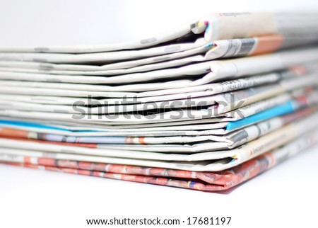 Pile of newspapers (DOF) - stock photo