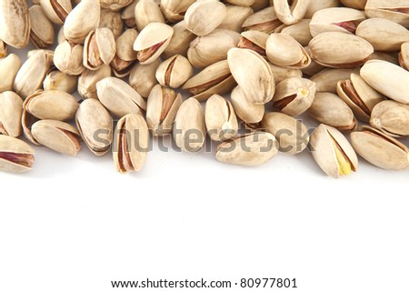 Pile of nuts. Space for your text - stock photo