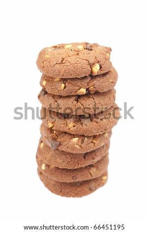 pile of oatmeal cookies isolated on white - stock photo