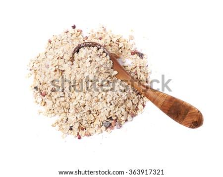 Pile of oatmeal groats isolated - stock photo