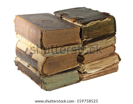 Pile of Old book isolated on white background with clipping path  - stock photo