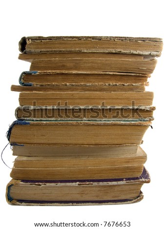 pile of old books from 1930-1950's - stock photo