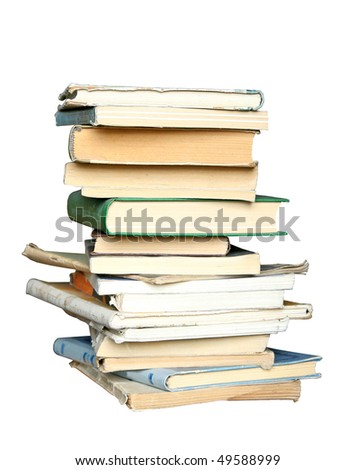 pile of old books isolated - stock photo