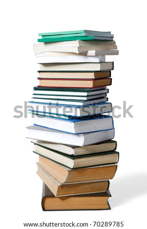 pile of old books isolated on white