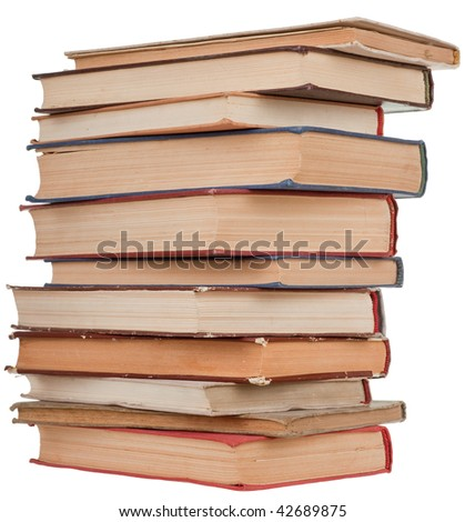 pile of old books on a white background - stock photo