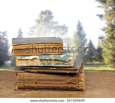 Pile of old books on fir trees background. Selective focus. - stock photo