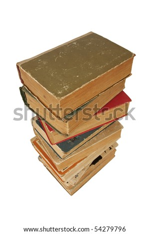 Pile of old books on isolated white background - stock photo