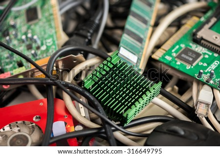Pile of Old Computer Cables and Devices. - stock photo