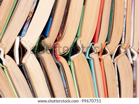 Pile of old dirty books - stock photo