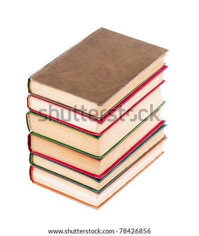 Pile of old dirty books on a white background - stock photo