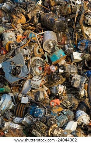 Pile of old engines - stock photo