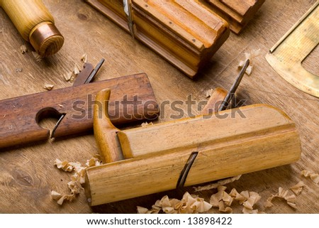 Pile of old joiner's planes - stock photo