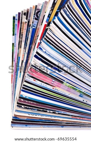 Pile of old journals isolated on white background - stock photo