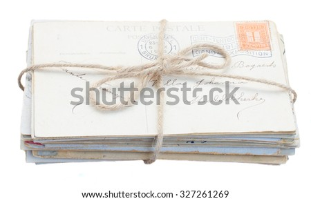 pile of old mail  isolated on white background - stock photo