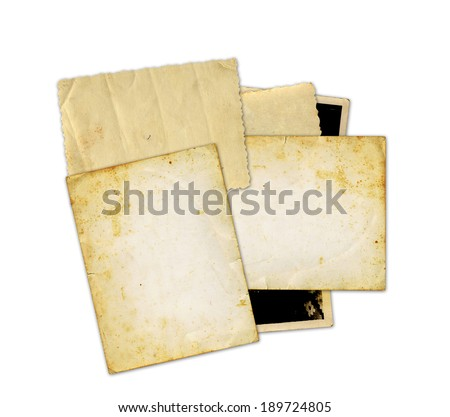 Pile of old photos and letters on white background isolated - stock photo