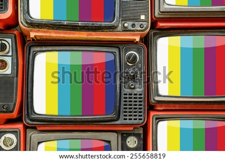 Pile of old retro TV - stock photo
