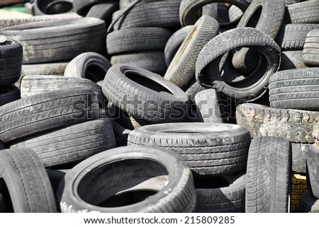Pile of old used car tires  - stock photo