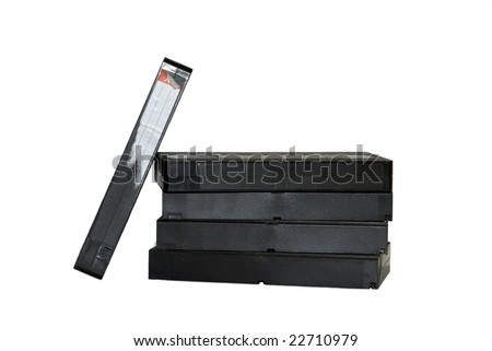 Pile of old VHS tapes - stock photo