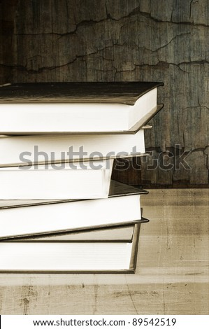 pile of old vintage books - stock photo