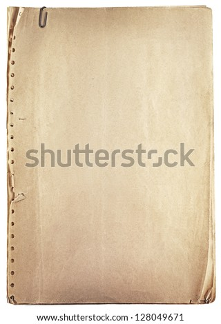 Pile of old vintage papers isolated on white - stock photo