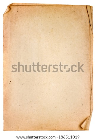 Pile of old vintage papers isolated on white background - stock photo