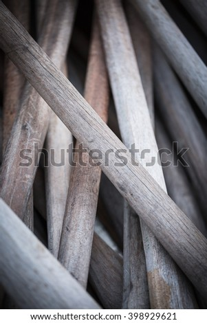 Pile of  old wooden paddles