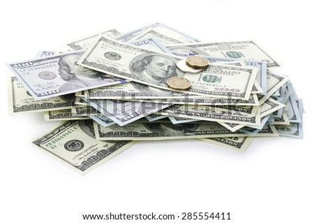 Pile of one hundred dollar bills new and old design isolated on white background.