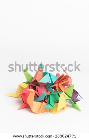 Pile of Origami Birds - stock photo