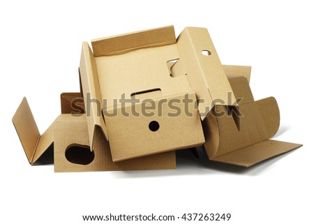 Pile of Package Cardboard For Recycling on White Background - stock photo