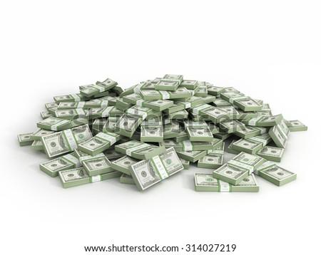 Pile of packs of dollar bills - stock photo