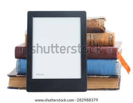 Pile of paper books with electronik book isolated on white background - stock photo